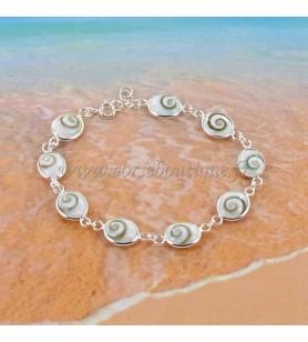 Bracelet en argent 925° et 9 yeux de Sainte Lucie ovales