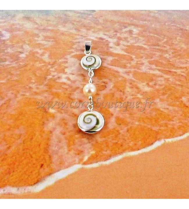 Pendentif argent double Œil de Sainte Lucie et perle avec écrin