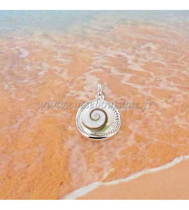 Pendentif rond Œil de Sainte Lucie et contour argent fantaisie 8445E