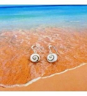 Boucles d'oreille rondes Œil de Sainte Lucie et argent 925°