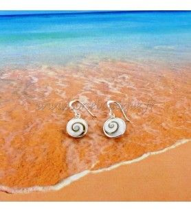 Earrings in silver with eye of Holy Lucie round