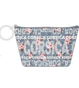 Trousse Zipper Fleurs fond bleu