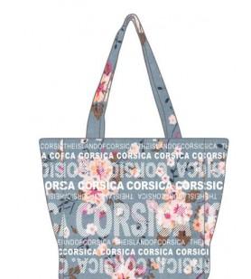 Bolsa de compras de Pequeño Modelo de Flores sobre un fondo azul