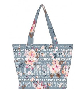 Shopping bag Small Model Flowers blue background