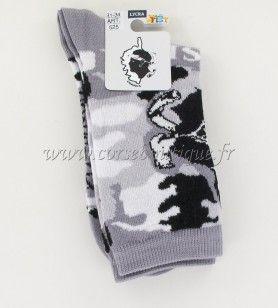 Chaussettes N° 6 Army grises carte Corse + Tête de Maure
