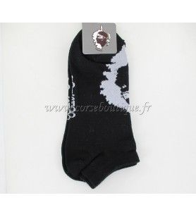 Chaussettes courtes  N° 8 noires Carte +Tête de Maure  - Chaussettes courtes N° 8 noires Carte + Tête de Maure