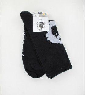Socken Nr. 8 schwarze Karte Korsika + tête de Maure  - Socken Nr. 8 schwarze Karte Korsika + tête de Maure