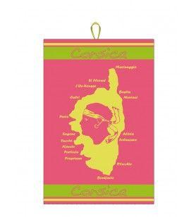 Geschirrtuch Korsika Fluo auf rosa Baumwollgrund 50 x 75 cm  - Geschirrtuch Carte Corse Fluo fond Rose