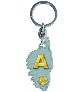 Porte clés Carte Corse Initiale