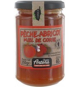 Confettura di pesche albicocca Miele di Corsica 350 gr  - Confettura di pesche albicocca Miele di Corsica 350 gr