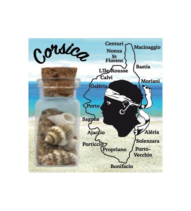 Magnet sable bouteille carte Corse
