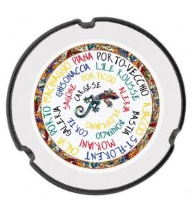 Ceramic ashtray decorated with Corsican cities and salamander