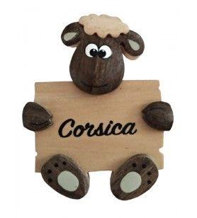 Magnete di pecora in legno con fascia Corsica  - Magnete di pecora in legno con fascia Corsica Diametro 4 Cm