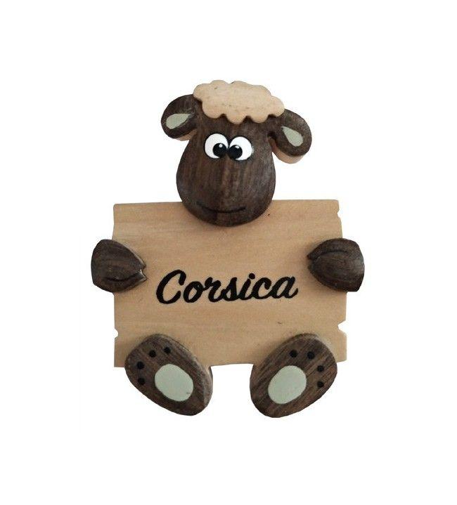 Magnet mouton en bois bandeau Corsica