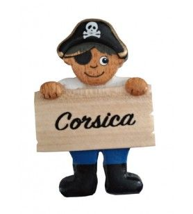 Pirate magnet in wood with Corsica band