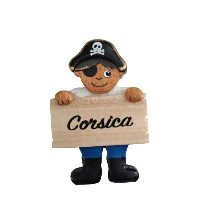 Magnet pirate en bois bandeau Corsica
