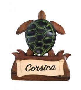 Imán de tortuga en madera con diadema de Córcega