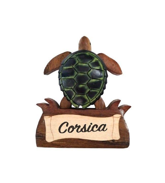 Houten schildpadmagneet met Corsica hoofdband