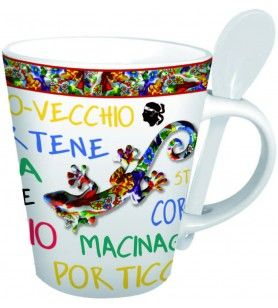 Mug with spoon salamander decoration Corsica