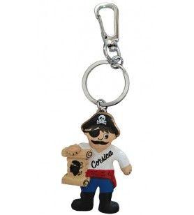 Houten sleutelhanger van piraat