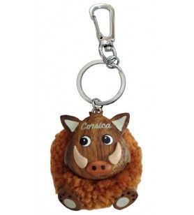 Boar key ring in plush