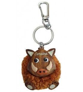 Schlüsselanhänger ausgestopft Wildschwein  -  Schlüsselanhänger ausgestopft Wildschwein Durchmesser: 4 cm