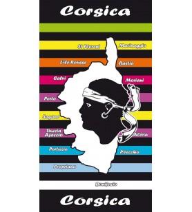 Serviette microfibre carte Corse rayures couleurs