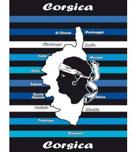 Giant towel blue Corsican card