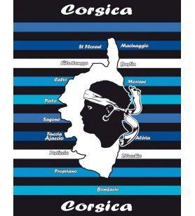 Giant towel blue Corsican card  -  Giant towel blue Corsican card  microfiber 250 gr / m2  Dimension: 140 x 180 cm