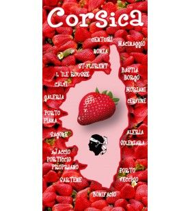 Corsica microfibre towel with strawberry decor