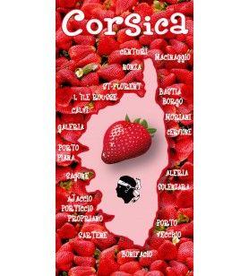 Serviette microfibre Corsica décor fraise