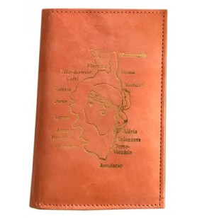 Wallet in goat leather decorated with map and cities of Corsica