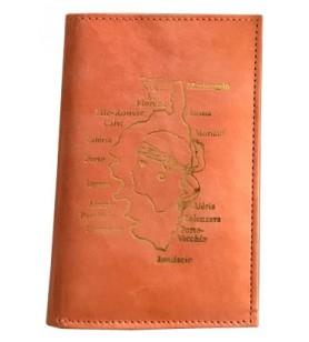 Cartera en piel de cabra decorada con mapa y ciudades de Córcega