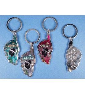 Porte clés métallisé île et tête de Maure