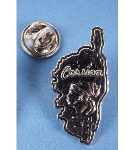 Pin's Carte corse et tête de Maure en métal