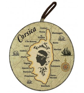 Dessous de plat rond carte Corse fond marron