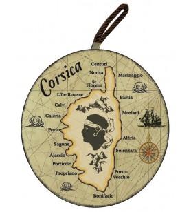 Planche à découper ronde carte Corse fond marron