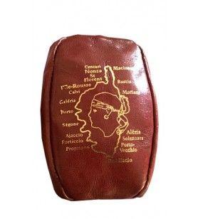 Porte monnaie en cuir grain de café carte Corse