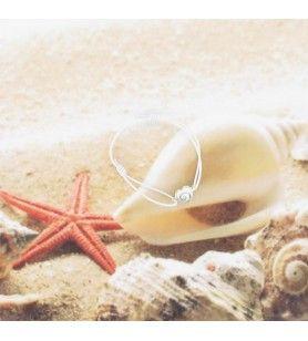 Bracelet cordon élastique et oeil de sainte Lucie forme coeur  - Bracelet cordon élastique et œil de sainte Lucie forme cœur