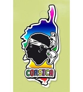 Magneetharskaart Corsica multi-color magneet