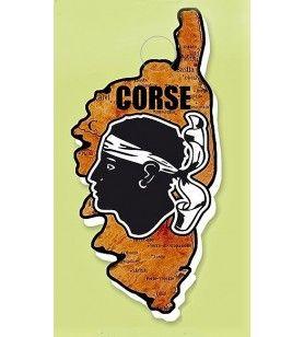 Magnet résine carte Corse façon bois