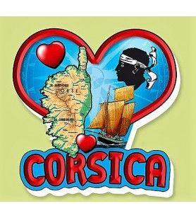 Magnet resin Corsica red heart