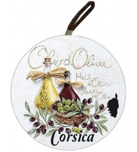 Corsica round plate mat with olive decoration 2 bottles