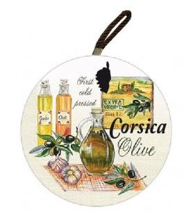 Corsica round plate mat with olive decoration 3 bottles