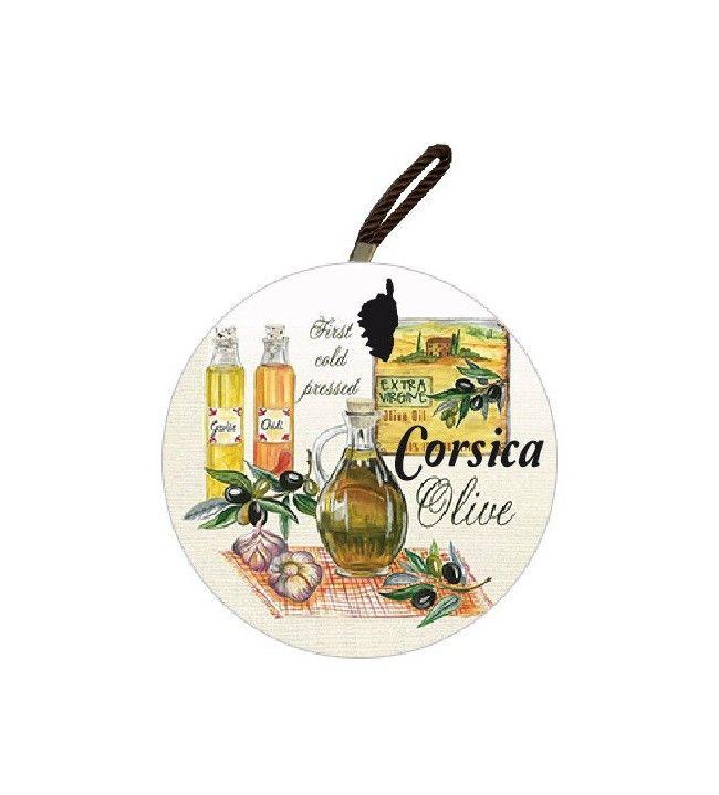 Dessous de plat rond Corsica décor olives 3 bouteilles