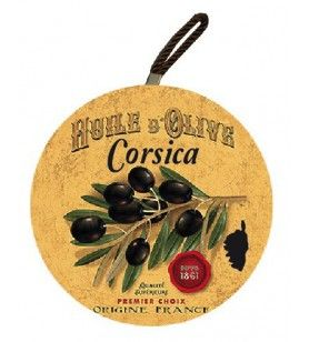Tappetino rotondo Corsica rami d'ulivo nero