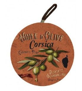 Round plate mat Corsica branches green olives