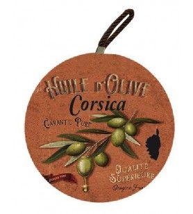 Ronde plaat Corsica takken groene olijven