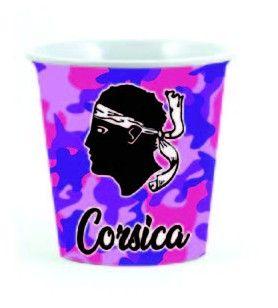 Mini-taza de cerámica estampada  -  Mini-taza de cerámica estampada. Capacidad: 125 ml.  Altura: 5,5 cm Diámetro: 7 cm.