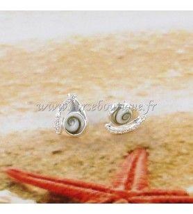 Boucles d'oreilles clous en argent Oeil de Sainte Lucie et oxyde de zirconium de forme fantaisie  - Boucles d'oreilles clous en